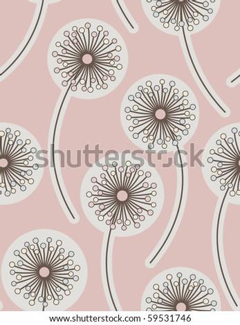 Dandelion. Seamless floral background. Vector illustration.