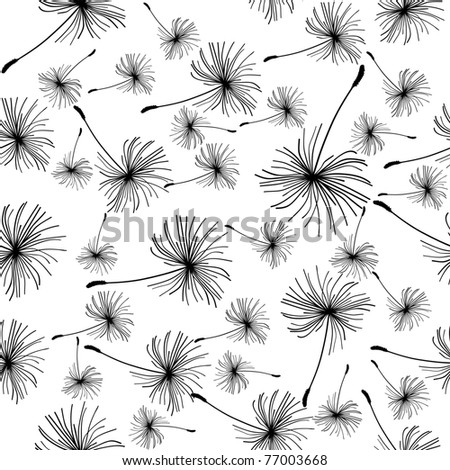 Dandelion seeds seamless black and white background.