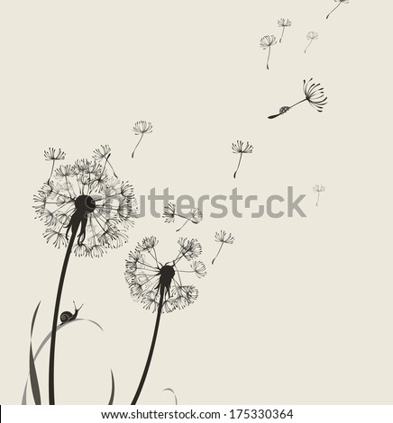 Dandelion silhouette snail and ladybug, light colors