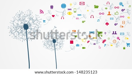 Dandelion Social media network flying icons set. Vector file layered for easy manipulation and custom coloring.