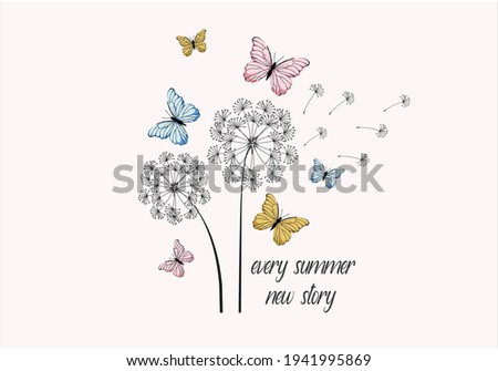 dandelion with butterfly