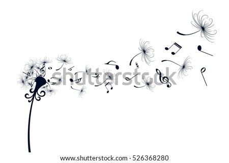Dandelion with music notes.