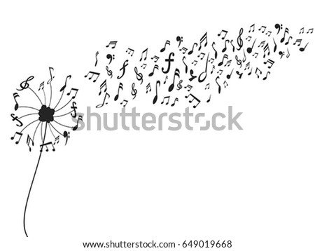 dandelion with music notes