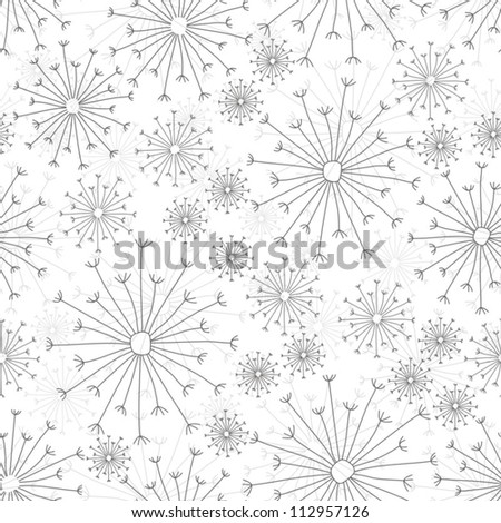 dandelions on white seamless pattern