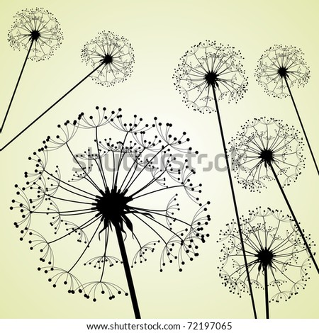 dandelions pale green - stock vector