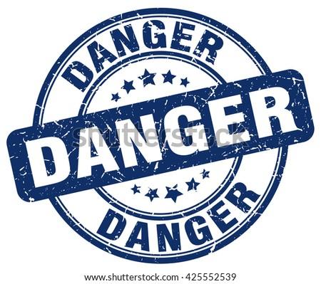 danger blue grunge round