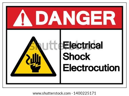 Danger Electrical Shock Electrocution Symbol Sign, Vector Illustration, Isolate On White Background Label .EPS10