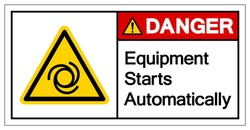 Danger Equipment Starts Automatically Symbol ,Vector Illustration, Isolate On White Background Label. EPS10