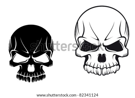 Danger evil skulls for tattoo or mascot design such a logo Rasterized version also available in gallery