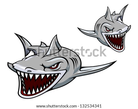 Danger gray shark with sharp teeth. Vector illustration for sport team mascot. Jpeg (bitmap) version also available in gallery