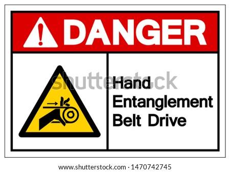 Danger Hand Entanglement Belt Drive Symbol Sign, Vector Illustration, Isolate On White Background Label .EPS10