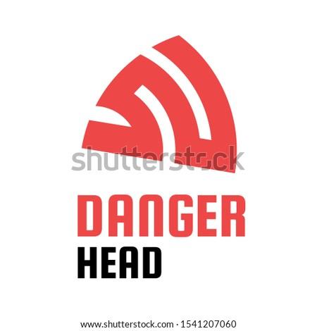 danger head red logo design