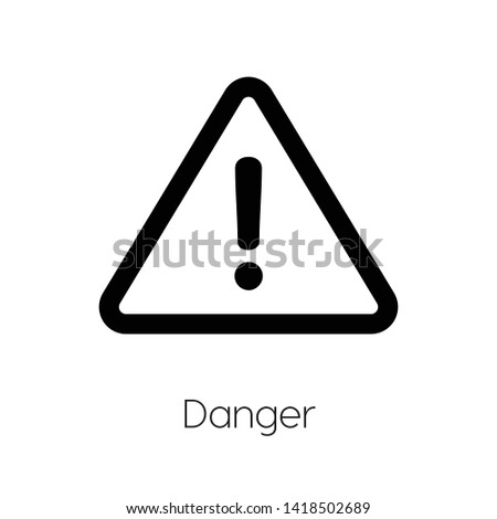 Danger icon vector. Danger symbol. Linear style sign for mobile concept and web design. Danger symbol illustration. Pixel vector graphics - Vector.