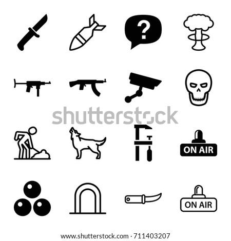 danger icons set set of 16