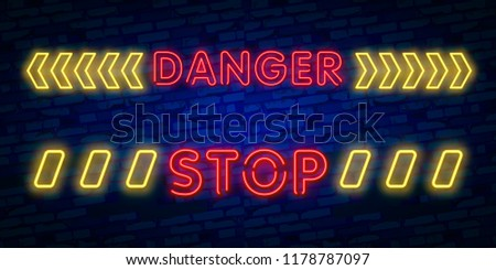 Danger Neon Text Vector. Danger neon sign, design template, modern trend design, night neon signboard, night bright advertising, light banner, light art. Vector illustration