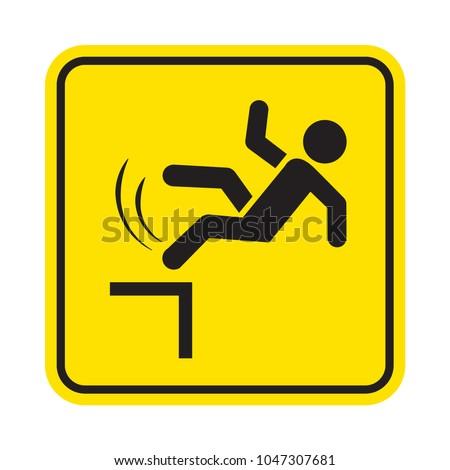 Danger of falling. Fall hazard sign. Vector sign.