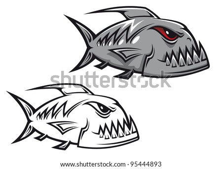 Danger piranha fish in cartoon style isolated on white background, such a logo