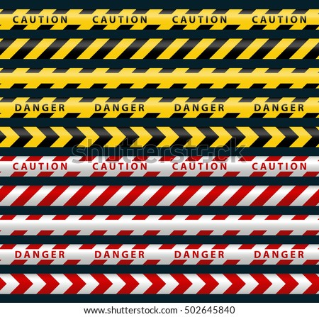danger ribbons set yellow