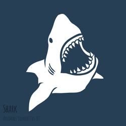Danger Shark silhouettes in the deep blue set. Vector