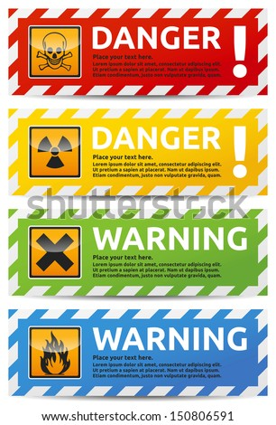 danger sign banner with warning