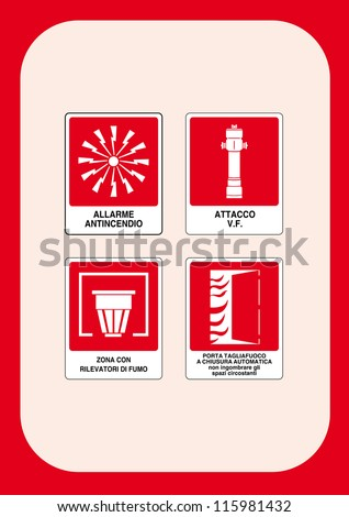 Danger sign: Fire alarm - VF attack - Area with smoke detection - automatic closing fire door, do not clutter the space surrounding