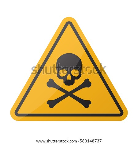 Danger sign. Skull and crossbones sign on a white background