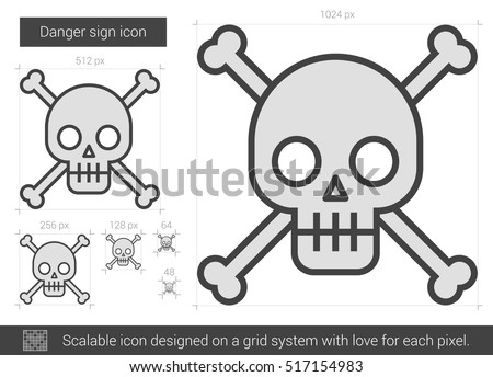danger sign vector line icon