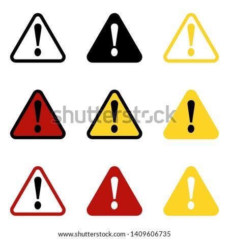 Danger sign, warning sign, attention sign. Danger icon, warning icon attention icon