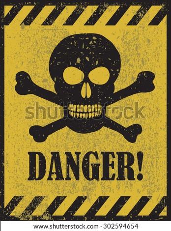 danger sign with skull symbol....