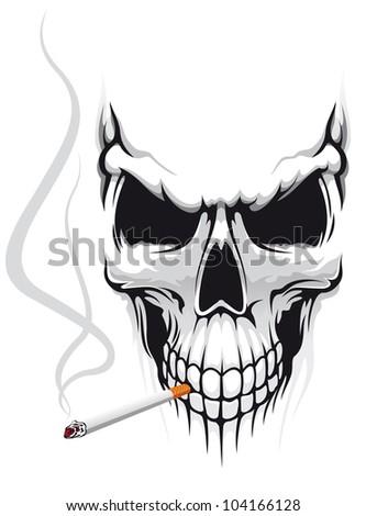 danger skull smoke a cigarette
