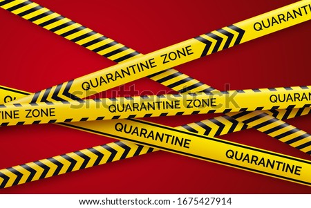 Danger tape quarantine. Warning tape fencing. Black and yellow vector diagonal stripes. Epidemic covid-19 orange tape with quarantine inscription