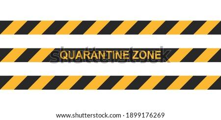 Danger tape quarantine zone. Warning tape fencing. Black and yellow vector diagonal stripes. Epidemic covid-19 orange tape with quarantine zone inscription