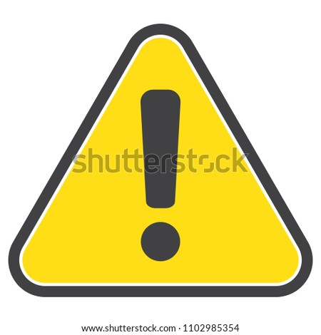 Danger warning attention triangle yellow sign, icon, vector illustration #1102985354