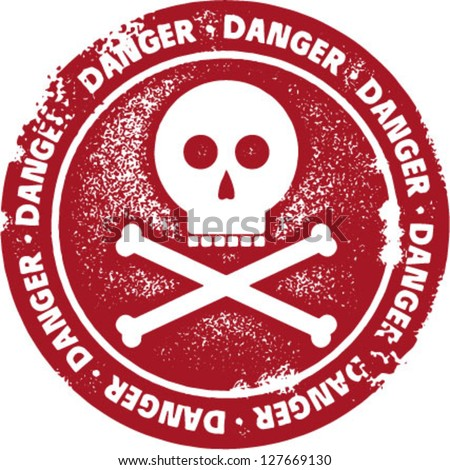 Danger Warning Stamp Sign