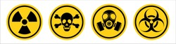 Danger warning yellow sign. Radiation sign, Gas mask, Toxic sign and Bio hazard. Vector icon isolated on white background.
