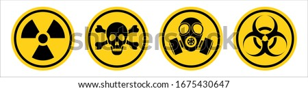 Danger warning yellow sign. Radiation sign, Gas mask, Toxic sign and Bio hazard. Vector icon isolated on white background. Stock fotó ©