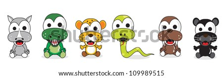 dangerous animal humor marching, sitting on a white background - stock vector