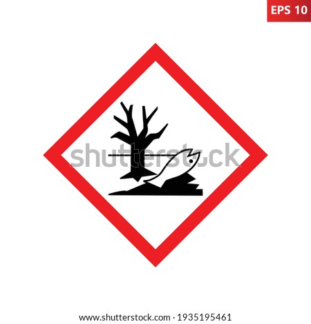 Dangerous for the environment warning sign. Vector illustration of red border square sign with dead fish and tree icon inside. Environmental pollution symbol. Caution danger zone. Contamination beware