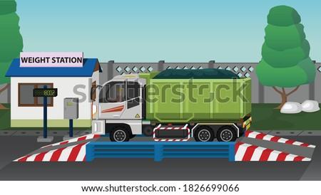 Dangerous garbage truck on the weighing scale at the checkpoint. Before and after transport operations. Isometric view. Photo stock ©