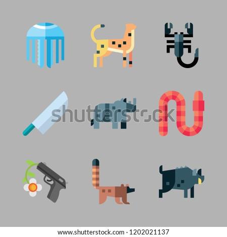 dangerous icon set vector set