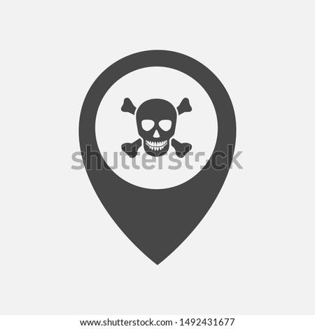 Dangerous place location icon concept. Danger zone icon concept. Skull & bone in location marker pin icon.