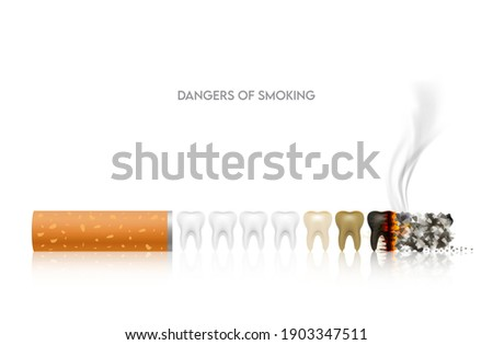 Dangers of smoking, Teeth with cigarette. Smoking effect on human teeth. Dental care concept. Stop smoking, World No Tobacco Day. Illustration on white background.