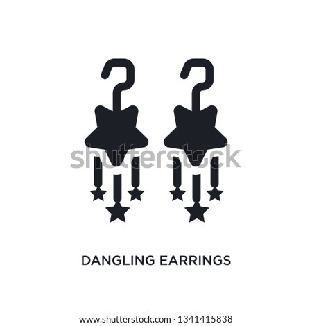 dangling earrings isolated icon. simple element illustration from woman clothing concept icons. dangling earrings editable logo sign symbol design on white background. can be use for web and mobile