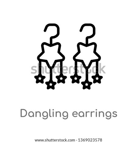 dangling earrings vector line icon. Simple element illustration. dangling earrings outline icon from woman clothing concept. Can be used for web and mobile