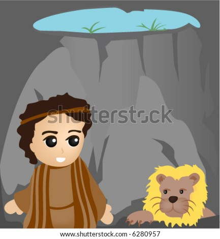 daniel in the lions den   vector