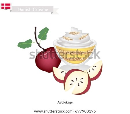 Danish Cuisine, Aeblekage or Traditional Apple Cake Made of Stewed Apple and Cookie Crumbs or Bread Crumbs and Crushed Makroner Topped with Whipped Cream. One of The Most Popular Dessert in Denmark. Stok fotoğraf ©