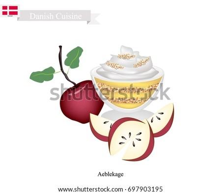 danish cuisine  aeblekage or