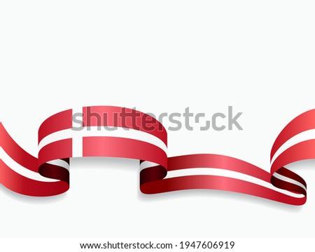 Danish flag wavy abstract background. Vector illustration. Сток-фото ©