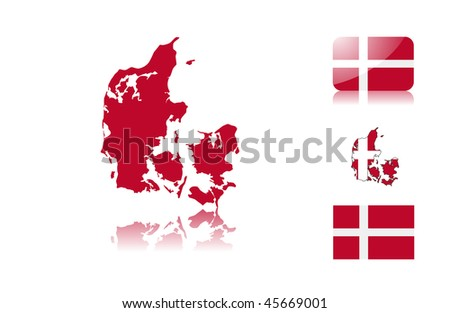 Danish  map including: map with reflection, map in flag colors, glossy and normal flag of Denmark.