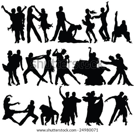 danse couples high quality silhouettes collection - vector